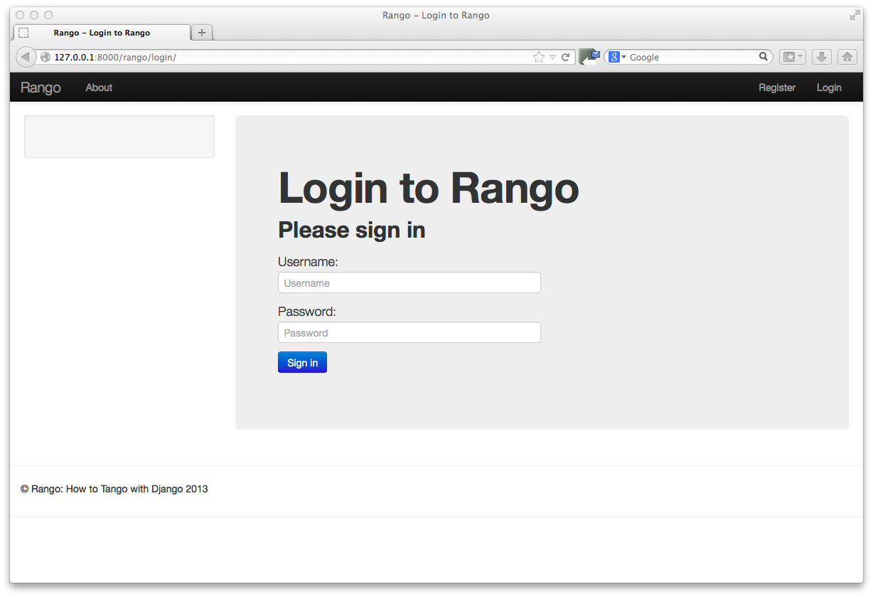 11 bootstrapping rango how to tango with django 154 other form based templates falaconquin