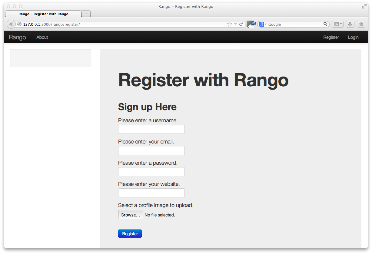 13 bootstrapping rango how to tango with django 17 imagesch11 bootstrap register customg falaconquin